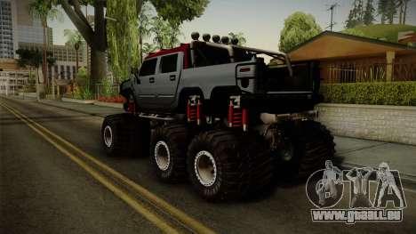 Hummer H2 6x6 Monster pour GTA San Andreas laissé vue