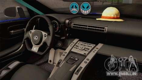 Lexus LFA Rem The Blue of ReZero pour GTA San Andreas vue intérieure