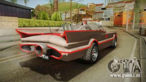 GTA 5 Vapid Peyote Batmobile 66 IVF für GTA San Andreas zurück linke Ansicht