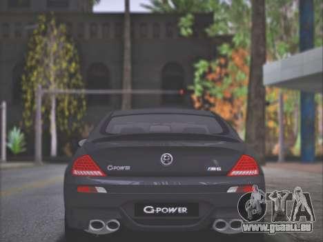 BMW M6 G-Power Hurricane RR pour GTA San Andreas laissé vue