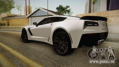Chevrolet Corvette Stingray Z06 pour GTA San Andreas laissé vue
