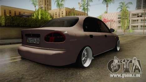 Daewoo Lanos Sedan 2001 pour GTA San Andreas sur la vue arrière gauche