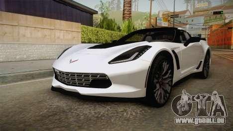 Chevrolet Corvette Stingray Z06 pour GTA San Andreas sur la vue arrière gauche