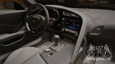 Chevrolet Corvette Stingray Z06 pour GTA San Andreas vue intérieure
