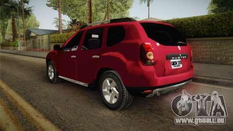 Renault Duster pour GTA San Andreas sur la vue arrière gauche