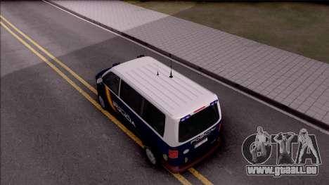 Volkswagen Transporter Spanish Police pour GTA San Andreas vue arrière