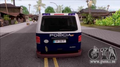 Volkswagen Transporter Spanish Police pour GTA San Andreas sur la vue arrière gauche