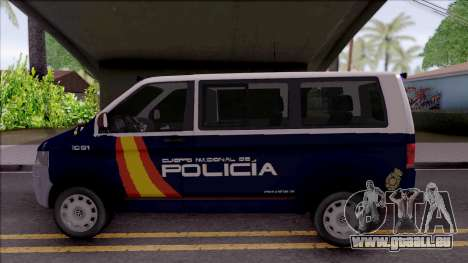 Volkswagen Transporter Spanish Police pour GTA San Andreas laissé vue