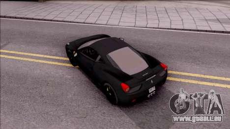 Ferrari 458 Italia Black pour GTA San Andreas vue arrière