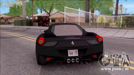 Ferrari 458 Italia Black pour GTA San Andreas sur la vue arrière gauche