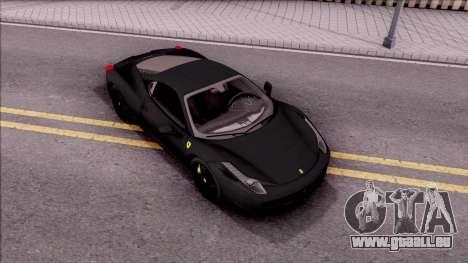 Ferrari 458 Italia Black pour GTA San Andreas vue de droite