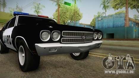 Chevrolet Chevelle SS Police LVPD 1970 v2 für GTA San Andreas Seitenansicht