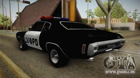 Chevrolet Chevelle SS Police LVPD 1970 v2 für GTA San Andreas rechten Ansicht