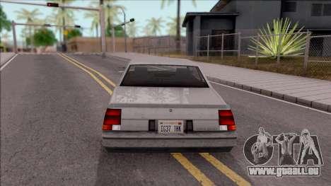 GTA IV Declasse Sabre pour GTA San Andreas sur la vue arrière gauche