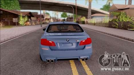 BMW M5 F10 Stock v1 pour GTA San Andreas sur la vue arrière gauche