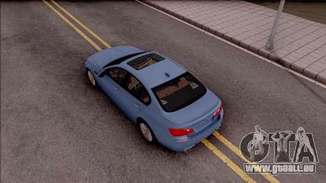 BMW M5 F10 Stock v1 pour GTA San Andreas vue arrière