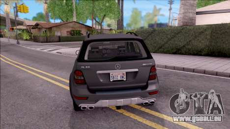 Mercedes-Benz ML 63 AMG 2009 pour GTA San Andreas sur la vue arrière gauche