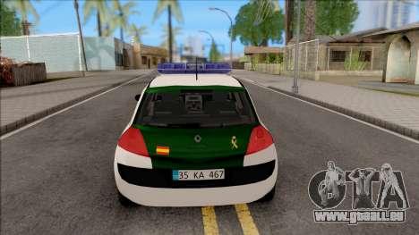 Renault Megane Guardia Civil Spanish pour GTA San Andreas sur la vue arrière gauche