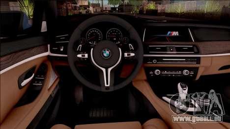 BMW M5 F10 Stock v1 pour GTA San Andreas vue intérieure