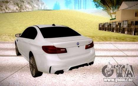 BMW M5 F90 pour GTA San Andreas sur la vue arrière gauche