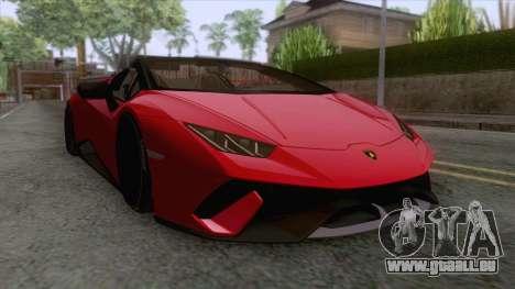 Lamborghini Huracan Performante Spyder 2019 pour GTA San Andreas sur la vue arrière gauche