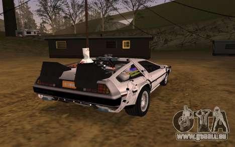 Delorean DMC-12 Back To The Future 2 für GTA San Andreas Rückansicht